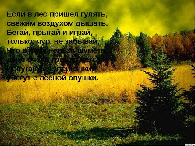Если в лес пришел гулять, свежим воздухом дышать, Бегай, прыгай и играй, толь...