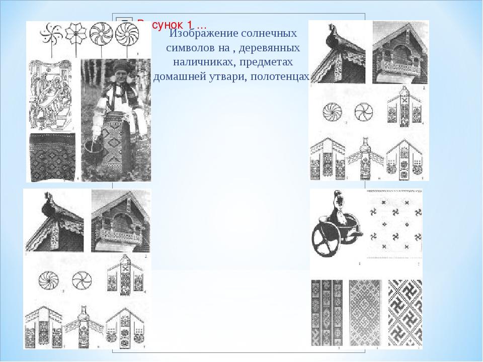 Изображение солнечных символов на , деревянных наличниках, предметах домашней...