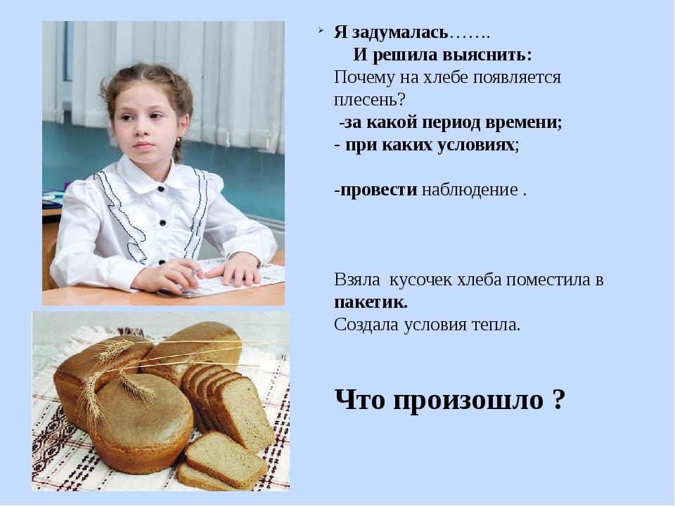 Я задумалась……. И решила выяснить: Почему на хлебе появляется плесень? -за ка...