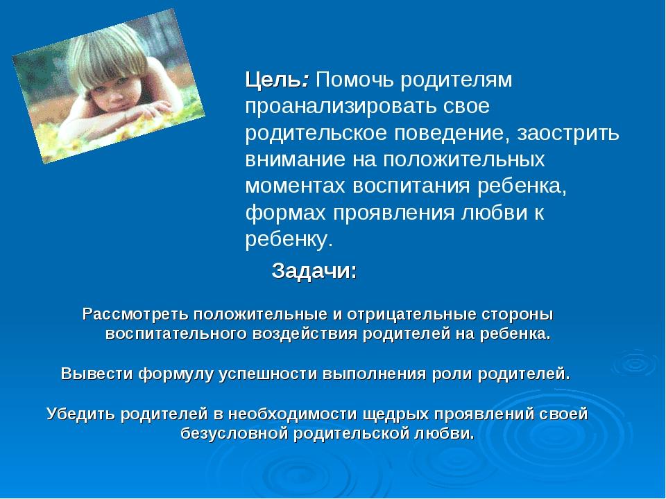 Цель: Помочь родителям проанализировать свое родительское поведение, заострит...