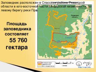 Площадь заповедника состовляет 55 760 гектара Заповедник расположен в Спасск