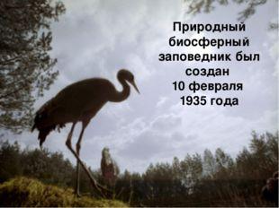 Природный биосферный заповедник был создан 10 февраля 1935 года