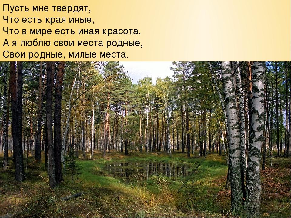 Пусть мне твердят, Что есть края иные, Что в мире есть иная красота. А я любл...