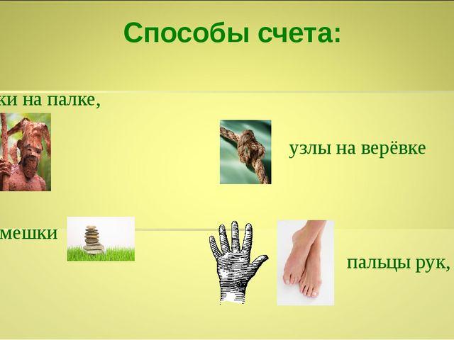 Способы счета: зарубки на палке, камешки пальцы рук, ног узлы на верёвке