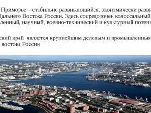 Сегодня Приморье – стабильно развивающийся, экономически развитый регион Даль