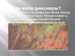Где жили динозавры? Климат на Земле в то время был более тёплым и влажным, ч