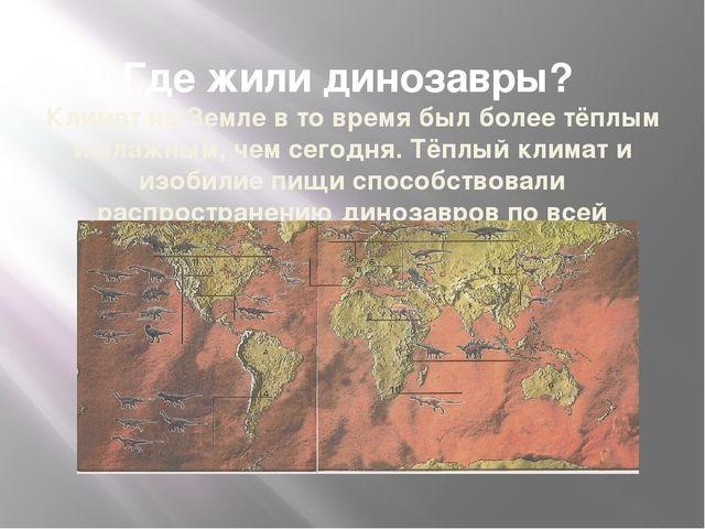 Где жили динозавры? Климат на Земле в то время был более тёплым и влажным, ч...