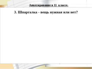 Анкетирование в 11 классе.