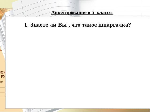 Анкетирование в 5 классе.