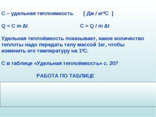 С – удельная теплоемкость [ Дж / кг0С ] Q = C m ∆t C = Q / m ∆t Удельная тепл