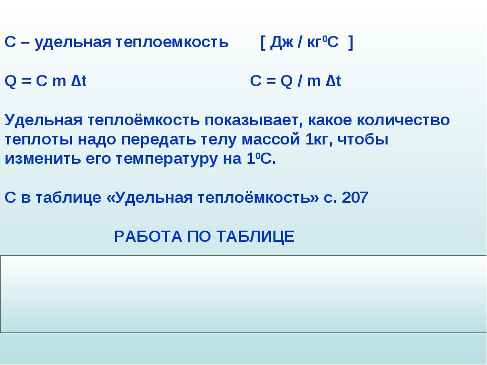 С – удельная теплоемкость [ Дж / кг0С ] Q = C m ∆t C = Q / m ∆t Удельная тепл...