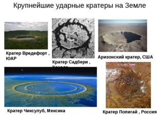 Кратер Вредефорт , ЮАР Кратер Садбери , Канада Крупнейшие ударные кратеры на
