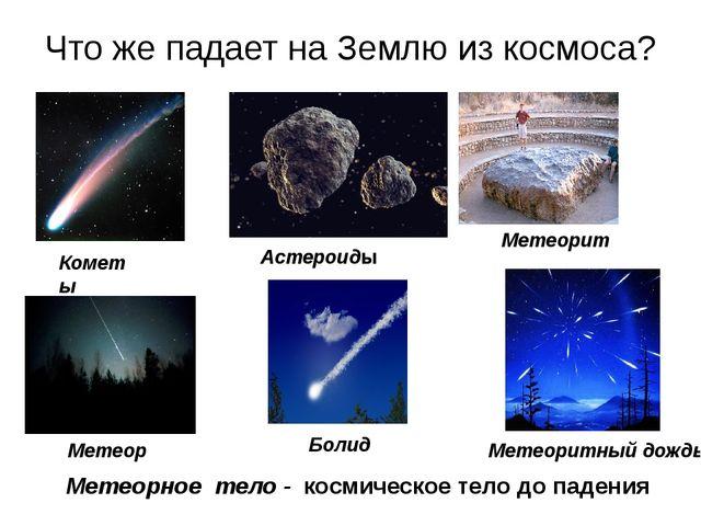 Что же падает на Землю из космоса? Метеор Метеорное тело - космическое тело д...