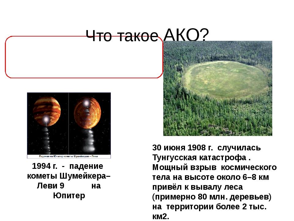 АКО – это столкновения Земли с космическими телами.  Что такое АКО? 30 июня...