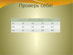 Проверь себя! 1 вариант 2 вариант 3 вариант 4 вариант 5 вариант 1.1 1.1 1.2 1
