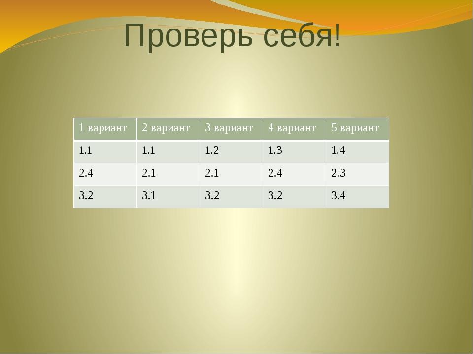 Проверь себя! 1 вариант 2 вариант 3 вариант 4 вариант 5 вариант 1.1 1.1 1.2 1...