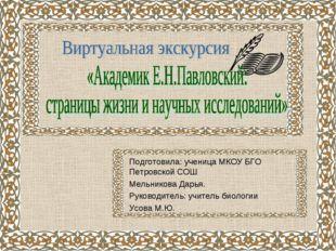 Подготовила: ученица МКОУ БГО Петровской СОШ Мельникова Дарья. Руководитель: