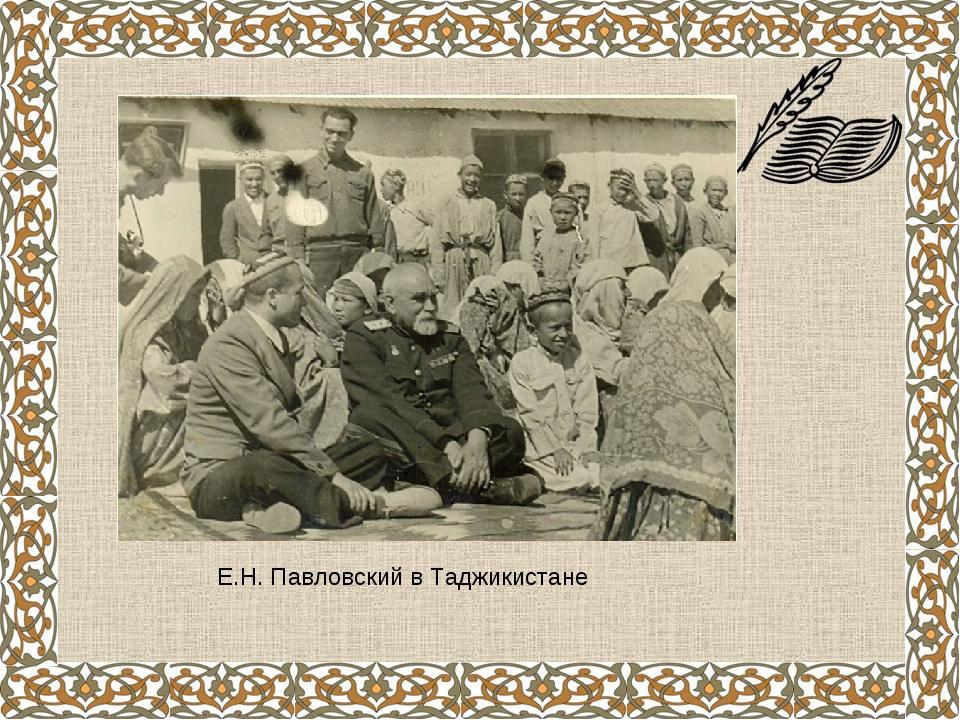 Е.Н. Павловский в Таджикистане