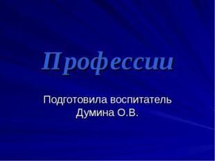 Профессии Подготовила воспитатель Думина О.В.