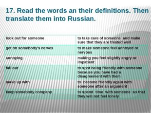17. Read the words an their definitions. Then translate them into Russian. lo