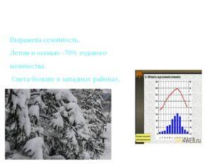 Выражена сезонность. Летом и осенью -70% годового количества. Снега больше в