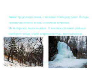 Зима: продолжительная, с низкими температурами. Погода преимущественно ясная,