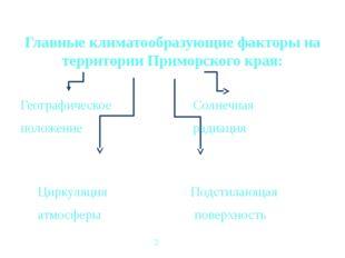 Главные климатообразующие факторы на территории Приморского края: Географиче