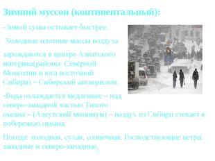 Зимний муссон (континентальный): -Зимой суша остывает быстрее. Холодные плотн