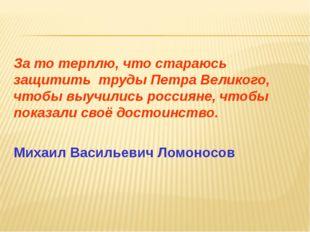 За то терплю, что стараюсь защитить труды Петра Великого, чтобы выучились рос