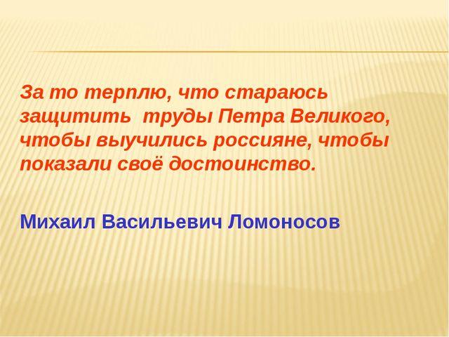 За то терплю, что стараюсь защитить труды Петра Великого, чтобы выучились рос...