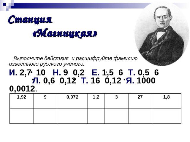 Выполните действия и расшифруйте фамилию известного русского ученого: И. 2,...