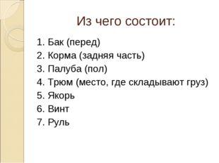 Из чего состоит: 1. Бак (перед) 2. Корма (задняя часть) 3. Палуба (пол) 4. Т