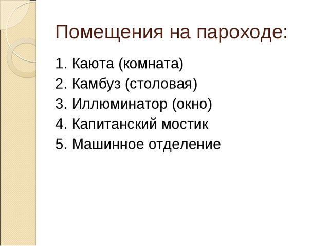 Помещения на пароходе: 1. Каюта (комната) 2. Камбуз (столовая) 3. Иллюминатор...