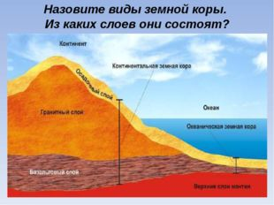 Назовите виды земной коры. Из каких слоев они состоят?