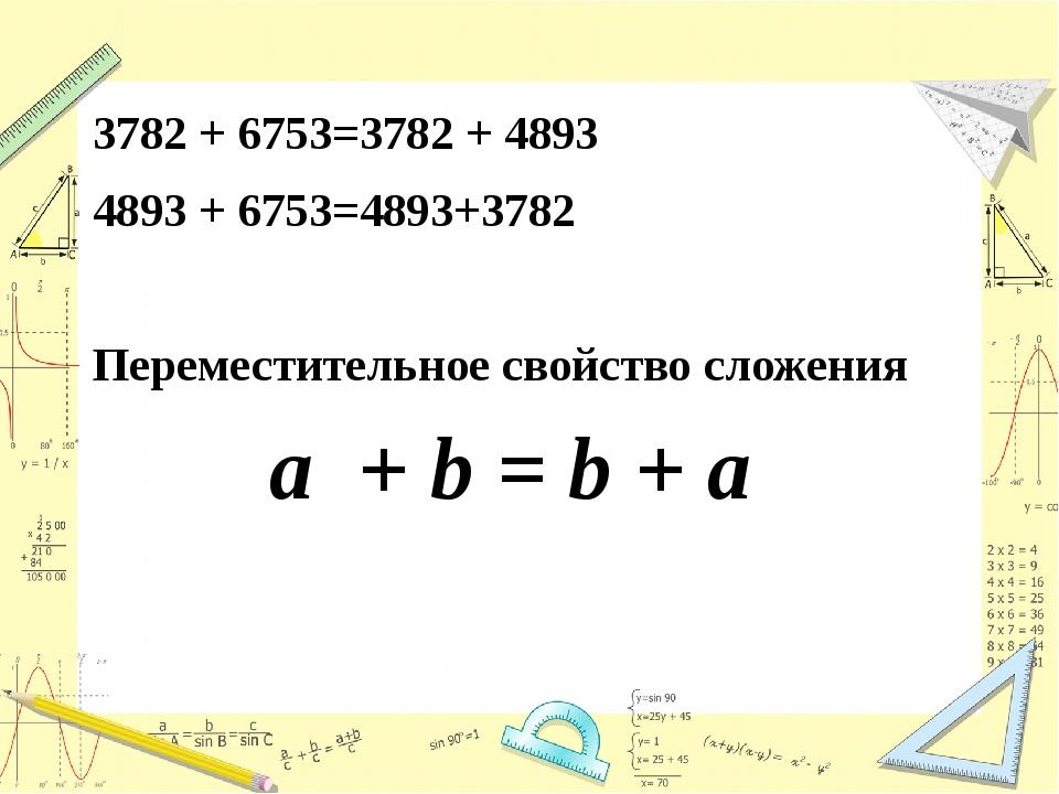 3782 + 6753=3782 + 4893 4893 + 6753=4893+3782 Переместительное свойство слож...