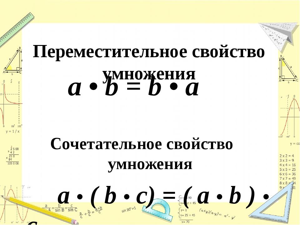 Переместительное свойство умножения а • b = b • a Сочетательное свойство умно...