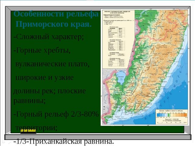 Особенности рельефа Приморского края. -Сложный характер; -Горные хребты, вул...