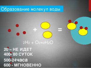 Образование молекул воды + = 2Н2 + О2=2Н2О 20 – НЕ ИДЕТ 400- 80 СУТОК 500-24ч