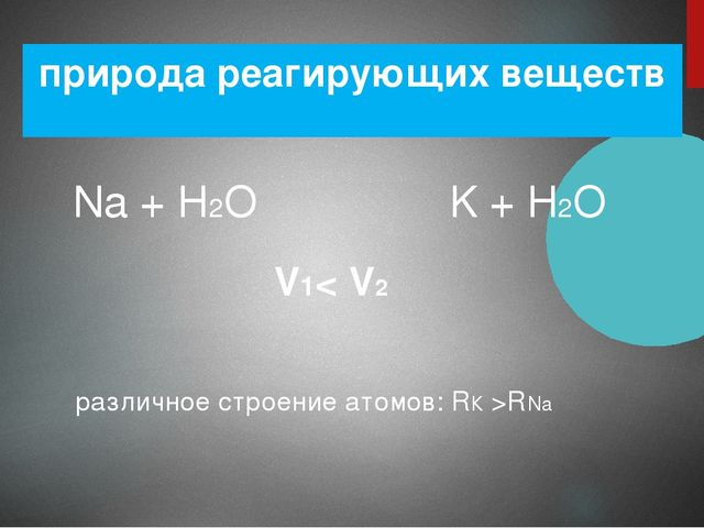 природа реагирующих веществ Na + H2O K + H2O V1< V2 различное строение атомов...