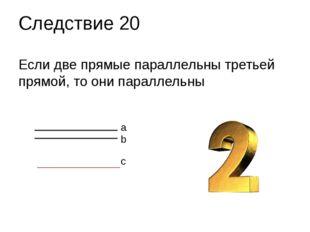 Если две прямые параллельны третьей прямой, то они параллельны Следствие 20 a