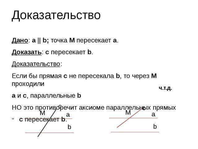 Доказательство Дано: а    b; точка М пересекает a. Доказать: с пересекает b....