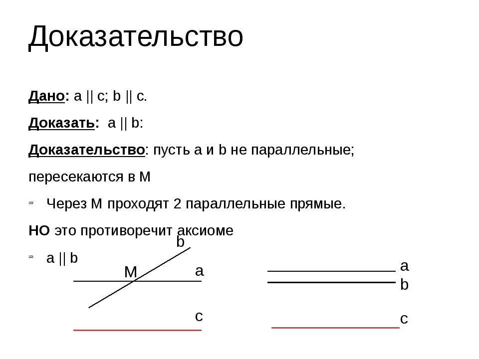 Дано: a    c; b    c. Доказать: a    b: Доказательство: пусть a и b не паралл...
