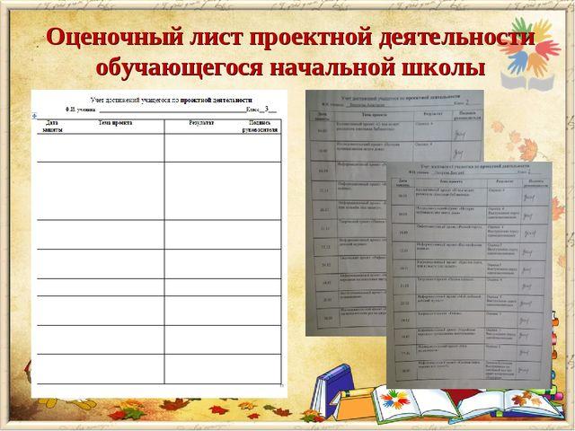 Оценочный лист проектной деятельности обучающегося начальной школы