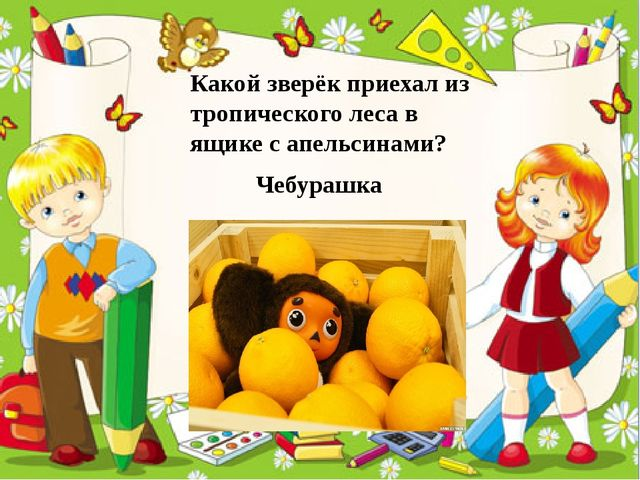 Какой зверёк приехал из тропического леса в ящике с апельсинами? Чебурашка