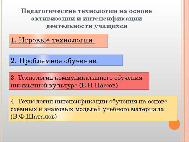 Педагогические технологии на основе активизации и интенсификации деятельности...