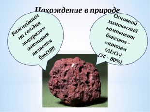Нахождение в природе Важнейшим на сегодня минералом алюминия является боксит