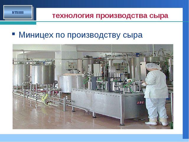 технология производства сыра Миницех по производству сыра ВТППП Company LOGO