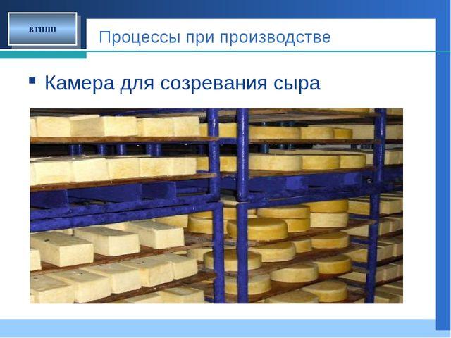 Процессы при производстве Камера для созревания сыра ВТППП Company LOGO