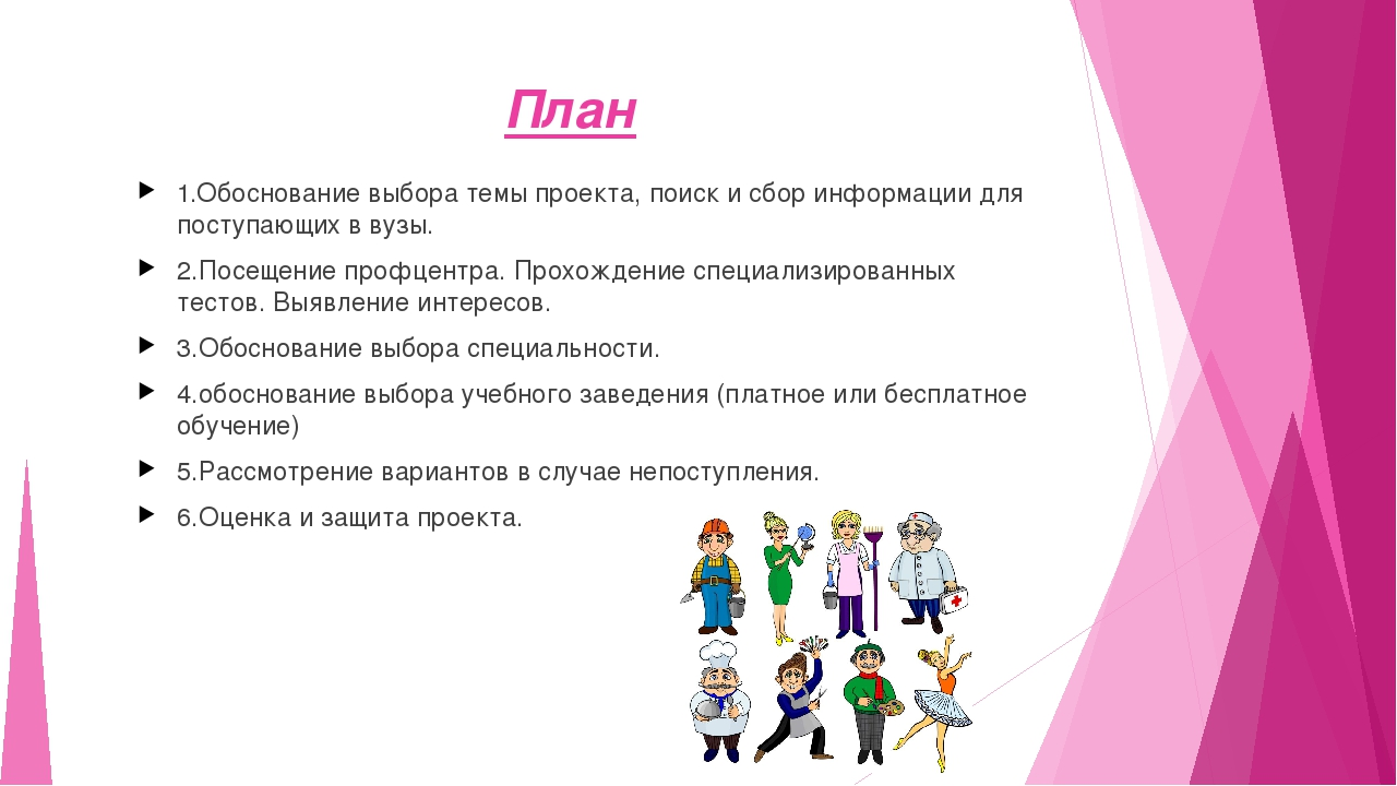 План  1.Обоснование выбора темы проекта, поиск и сбор информации для поступа...