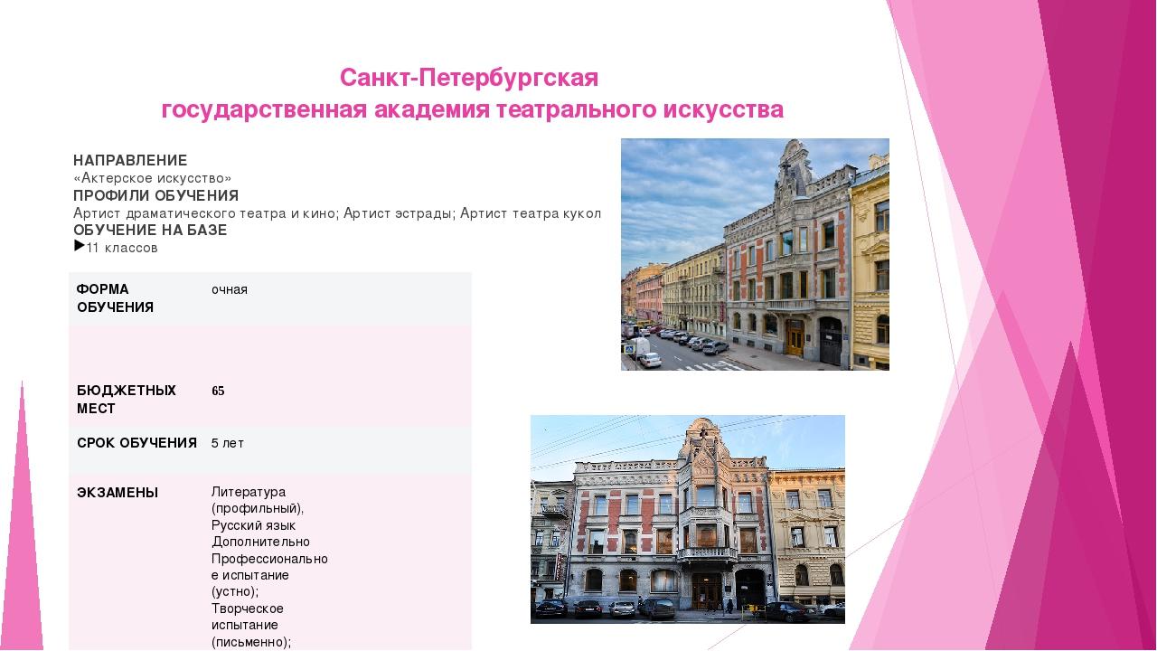 Санкт-Петербургская государственная академия театрального искусства НАПРАВЛЕН...